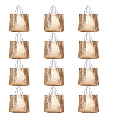 Rumcent Glossy Bling Reusable Grocery Bag Tote Bag With Handle,Non-woven Fashionable Present Bag Gift Bag,Goodies Bag Shopping Bag,Promotional Bag,Totes,Bulk Bags Set Of 12 - Gold ()