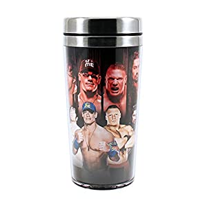Silver Buffalo WE0987ST WWE New Superstars Stainless Steel Travel Mug, 16-Ounces