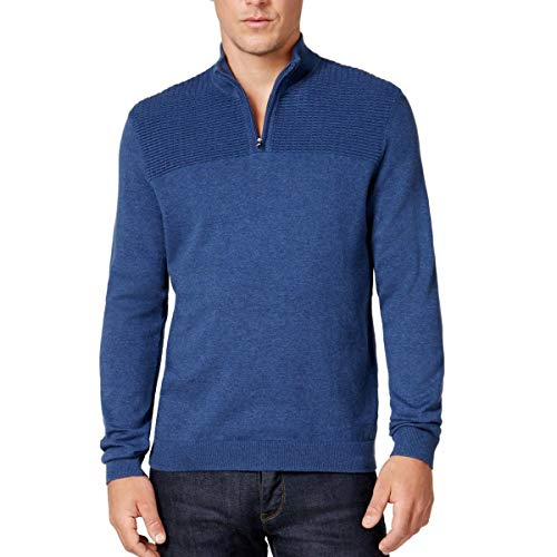 Alfani Heather Mens Large Pullover 1/2 Zip Sweater Blue L from Alfani