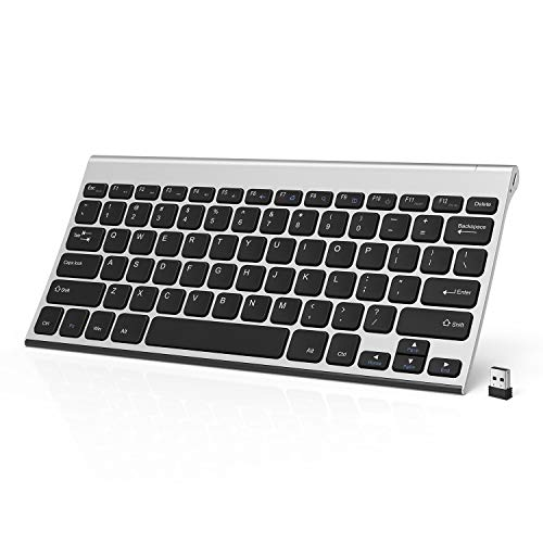 Wireless Keyboard, Jelly Comb 2.4GHz Ultra Slim Compact Rechargeable Wireless Keyboard for Laptop, Notebook, PC, Desktop, Computer, Windows OS - Black and Silver