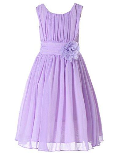 Bow Dream Little Girls Elegant Ruffle Chiffon Summer Flowers Girls Dresses Junior Bridesmaids Lavender 6