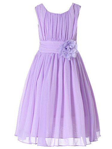 (Bow Dream Little Girls Elegant Ruffle Chiffon Summer Flowers Girls Dresses Junior Bridesmaids Lavender)