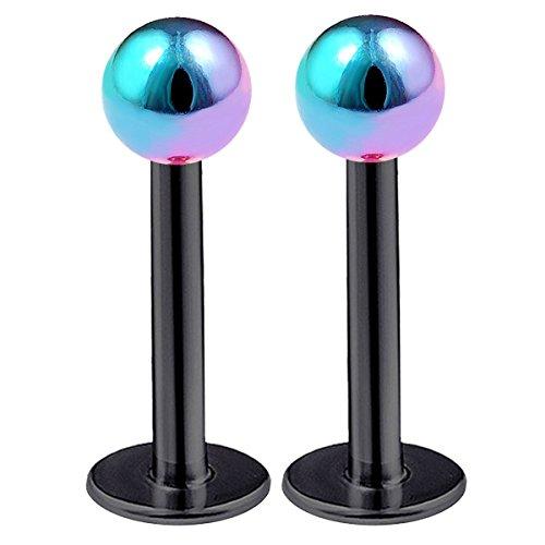 bodyjewellery 2pcs 16g Labret Stud Lip Ring Lobe Monroe Tragus Forward Helix Conch Black Anodized Surgical Steel Rainbow Ball - 8mm ()