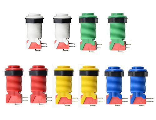 (WMYCONGCONG 10 PCS Push Button with Microswitch for JammaMame Arcade Video Games DIY)