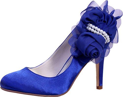 Cuña Sandalias Cfp Satén De Azul Mujer Con EHw8qPz