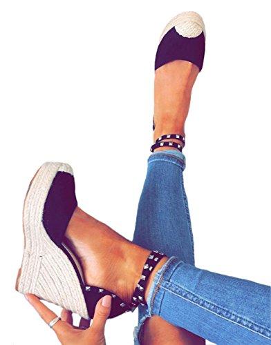 Verano Casual Planas Rivet Zapatos Negro Alpargatas Cuña Sandals Moda Mujer Tacon Playa Sandalias Romanas Bohemias Minetom 1qCzfz