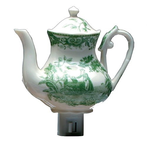 (Green Pastures Wholesale Green Toile Teacup Porcelain Night Light, 5-Inch by 4-Inch by 6-Inch)