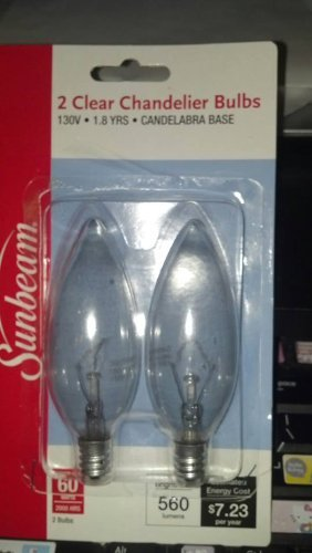 2 CLEAR CHANDELIER BULBS - 60 WATTS