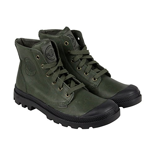 Palladium Pampa Hi Leather Men's Lace Up Combat Ankle Chukka Boots Army Green/Black