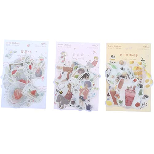 Kawaii Stationery Sticker Set (3 Pack, 120 Pieces) Strawberry Fruit Ice Cream Drink Juice Cute Girl DIY Decorative Stickers for Art Craft Scrapbooking Album Planner Diary Journal Gift Packing Label