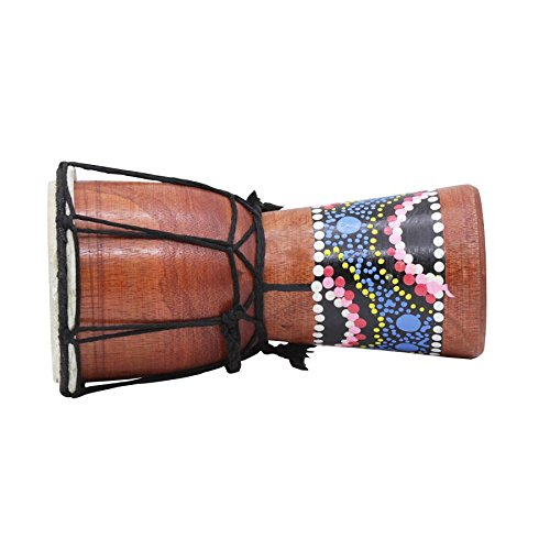 SODIAL 4 Inch African Drum Percussion Kid Toy Classic Painted Wooden African Style Hand Drum For Children Toys