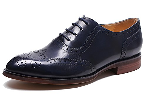 U-lite Women's Perforated Lace-up Wingtip Leather Flat/Platform Wedges Oxfords Vintage Oxford Shoes Brogues (8, Dark Blue) by U-lite