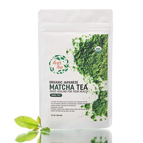 Aver Tea Organic Japanese Matcha Green Tea Powder 3.5 oz. Made From 100 Percent Organic Tea Leaves Detox Tea ceremonial grade