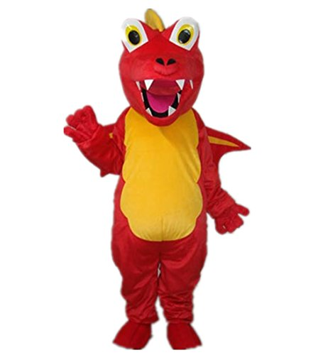 MascotShows Red Dinosaur Adult Mascot Costume Adult Size Halloween Fancy Dress Suit - Charizard Costume For Adults