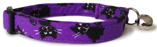 Breakaway Cat Collar in Purple Cats (Handmade in The U.S.A.) ()