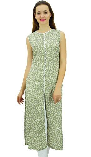 Phagun Avant Cut Olive Femmes Coton sans Manches Kurta Tunique Verte Imprim Kurti wTr0qwR