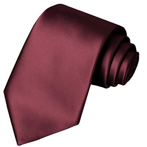KissTies Boys' Tie Burgundy Red Satin Necktie For Kids Boys Ties + Gift Box