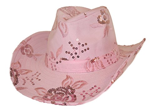 Floral Sequin Western Hat in Pink