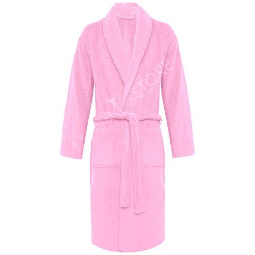 My de zapato de store 100% algodón egipcio de muy suave de toalla de bata para baño TERRY albornoces Pink / Shawl Neck