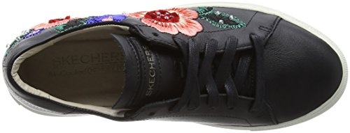 Mujer Flor Zapatillas Skechers Vaso Negro Black Leather para 5IwIqHnRE
