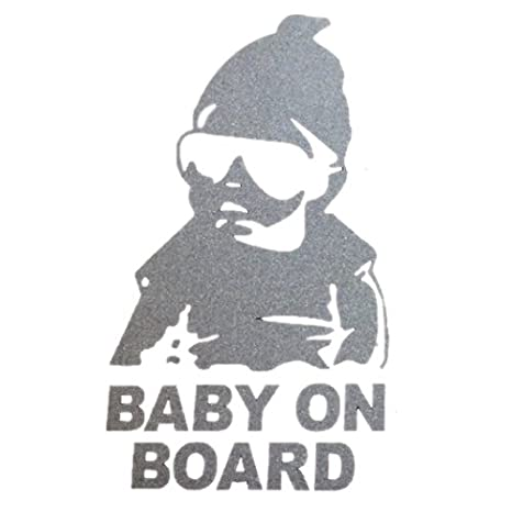 SODIAL(R) Baby on Car Safty Sticker Decal Waterproof Night Reflective Stickers: BABY ON BOARD-silver 111609B1