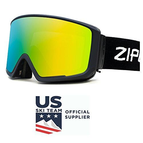Us Olympic Ski Team (Zipline Podium CL Ski / Snowboard Goggles - No Fog - 6 Lens Interchangeable Magnetic Lenses Options - US Freestyle Ski Team Supplier (Downhill/Mens/Womens/Youth) (Black Frame, Rose Lens / Gold Finish))