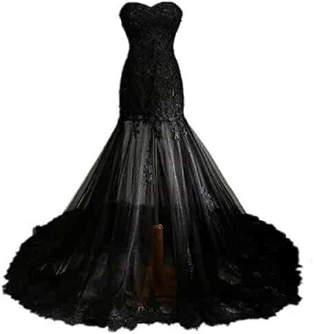 92d2e193401 Fair Lady Gothic Vintage Mermaid Prom Dress Long Beaded Lace Black Wedding  Dress Party Gown