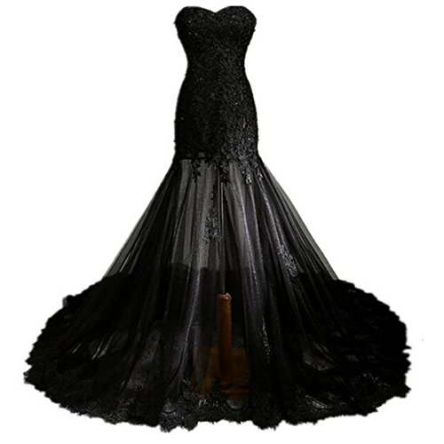 aa0bdc46e22 Fair Lady Gothic Vintage Mermaid Prom Dress Long Beaded Lace Black Wedding  Dress for Bride