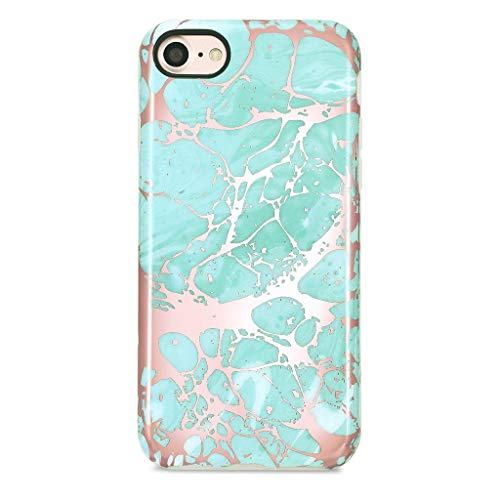 GOLINK iPhone 7 Case/iPhone 8 Case for Girls, Glossy Rose Gold Series Slim-Fit Ultra-Thin Shockproof Dust Proof Sparkling Shiny TPU Case for iPhone 7/8 4.7 - Blue&Rose Gold
