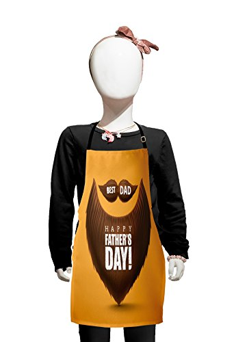Lunarable Mustache Kids Apron, Best Dad Happy Fathers Day Message on Bushy Facial Hair and Beard Figure, Boys Girls Apron Bib with Adjustable Ties for Cooking Baking and Painting, Chocolate and Orange