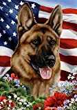 "German Shepherd Dog – Tamara Burnett Patriotic I Garden Dog Breed Flag 12"" x 17"" For Sale"