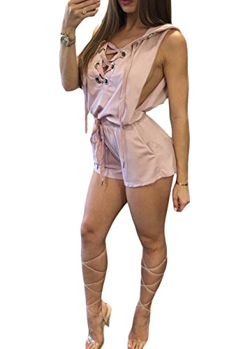 Zhaoyun Womens Lace Up Sleeveless Beachwear Hoodie Short Rompers Jumpsuits - Outlets Vegas Shopping In