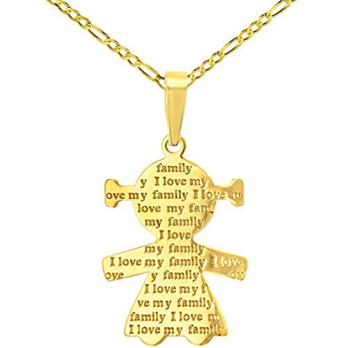 14K Yellow Gold Little Girl Charm with I Love My Family Engraved Script Pendant Figaro Chain Necklace, 20'' by JewelryAmerica (Image #4)