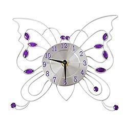 Home-X Metal Butterflies Wall Clock, Battery-Operated, 3D Analog Girls' Room Décor