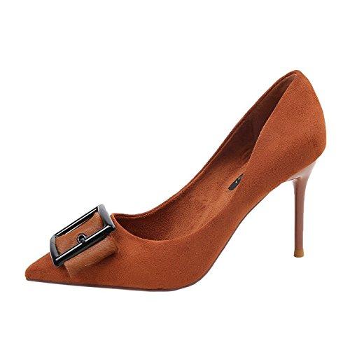 MDRW-Mode - Gürtelschnallen Und Hochhackigen Hochhackigen Hochhackigen Schuhen Frauen Neue Single Schuh Geringfügig Wildlederschuhe Sharp Arbeiten Schuhe High Heels 5b5ed4