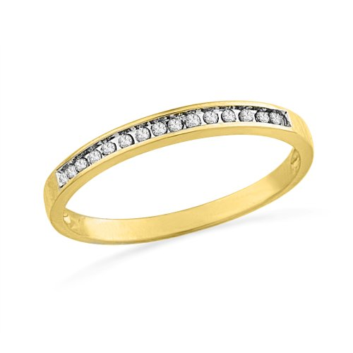 10KT Yellow Gold Round Diamond Anniversary Ring (1/10 CTTW), 8.5 (Round Band Diamond Wedding)