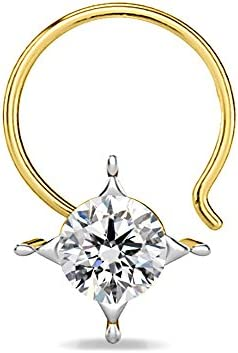 HN Jewels 14K Yellow Gold Plated 925 Sterling Silver Solitaire Nose Pin For Womens Girls Sim Diamond