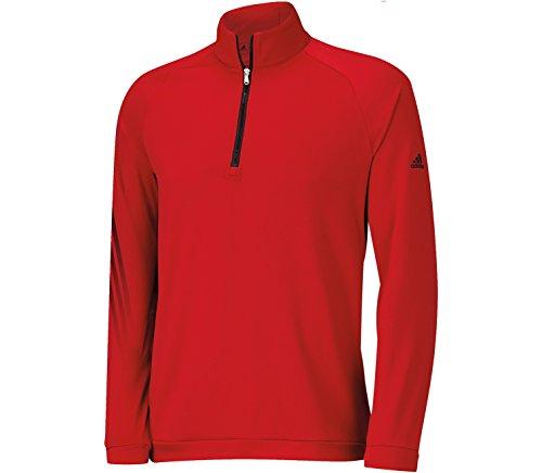 adidas Golf Men's 3 Stripes 1/2 Zip Shirt, Power Red/Black, Medium