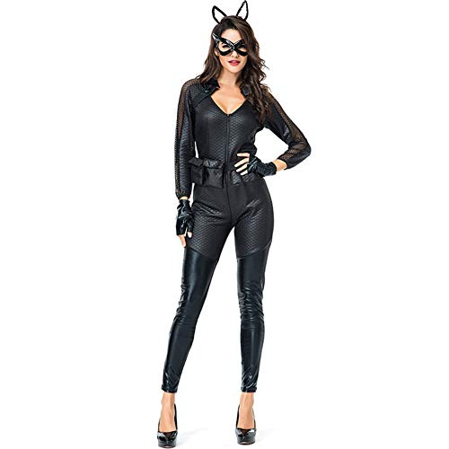 Wz Women's Catsuit Sexy Long Sleeve Lace Bodysuit Low Cut Jumpsuits with Gloves Eye Mask and Headwear
