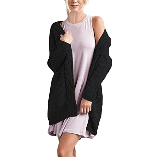 Domy Women's Long Sleeve Open Front Cardigan Sweater Cable Knit Coat With Pockets (S, - Cardigan Sweater Open Cable