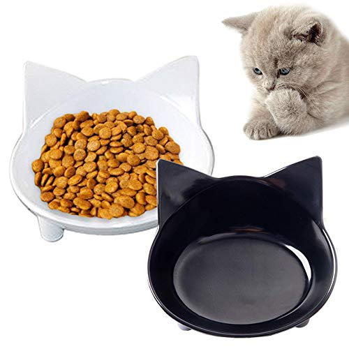 OWSPACE Cat Bowls Cat Food Bowl Non Slip Cat Dish Double Cat Feeding Bowls for Whisker Stress Relief Pet Food & Water…