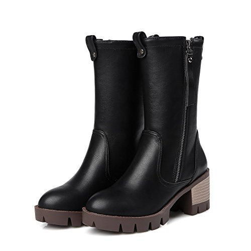 AmoonyFashion Womens Zipper Round Closed Toe Kitten-Heels PU Low-Top Boots, Black, 36