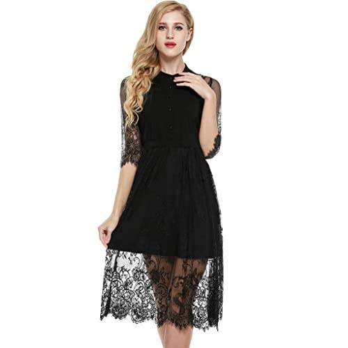 f5111377e2 durable service Meaneor Women Floral Lace Half Sleeve Evening Midi Dress  S-XXL