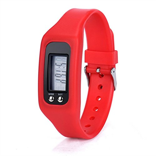 Rumas Mens Womens Digital LCD Pedometer Walking Distance Calorie Counter Bracelet Watch (Red) ()