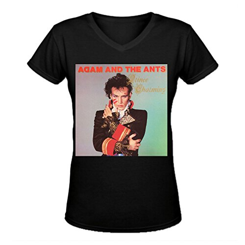 Adam And The Ants Prince Charming Casual Women's V Neck Tee Shirts Black