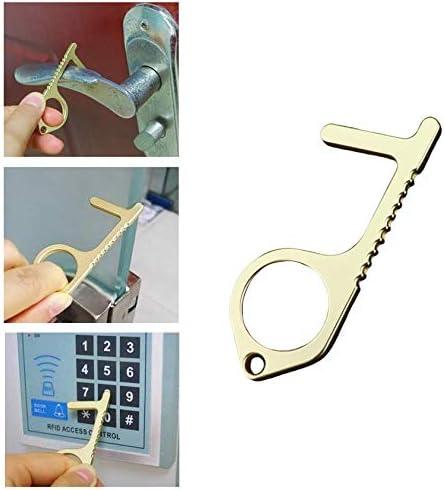 No Touch Door Opener Tool Non-Contact Keychain Handheld Portable Door Button Multifunctional Outdoor Public Door Handle Elevator Drawer Cleaning Key Keep Hands Clean Reusable 4PCS