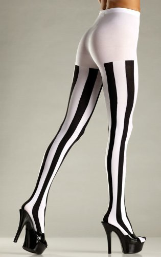 Be Wicked Women's Opaque Vertical Stripe Tights, Black/ White, One Size Black Opaque Vertical Stripes