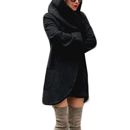 Parka Hoodie Hiver Cardigan Capuche Noir Manteaux Automne Laine Molleton Pardessus Longue Revers Col Manteau Poches Epais Femme 7xqRwFzSOW