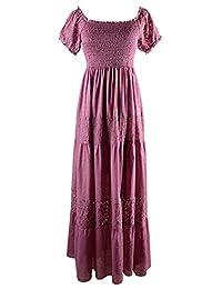 Anna-Kaci Womens Boho Stretchy Lace Ruffle Semi Sheer Smocked Maxi Long Dress