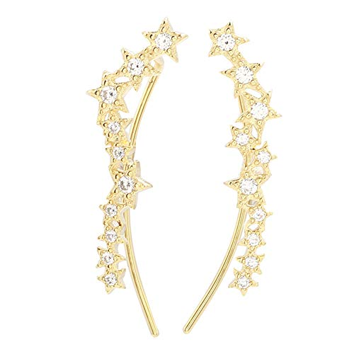 (Constellation CZ Star Cuff Wrap Earrings for Women Girls 925 Sterling Silver Big Dippe Crystal Cluster Sweep Up Crawler Climber Pin Hypoallergenic Stud Ear Hook Clip Huggie Jewelry Gifts (gold plated))